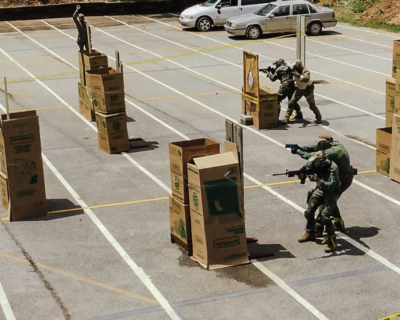 Open area partner movement with rifle
