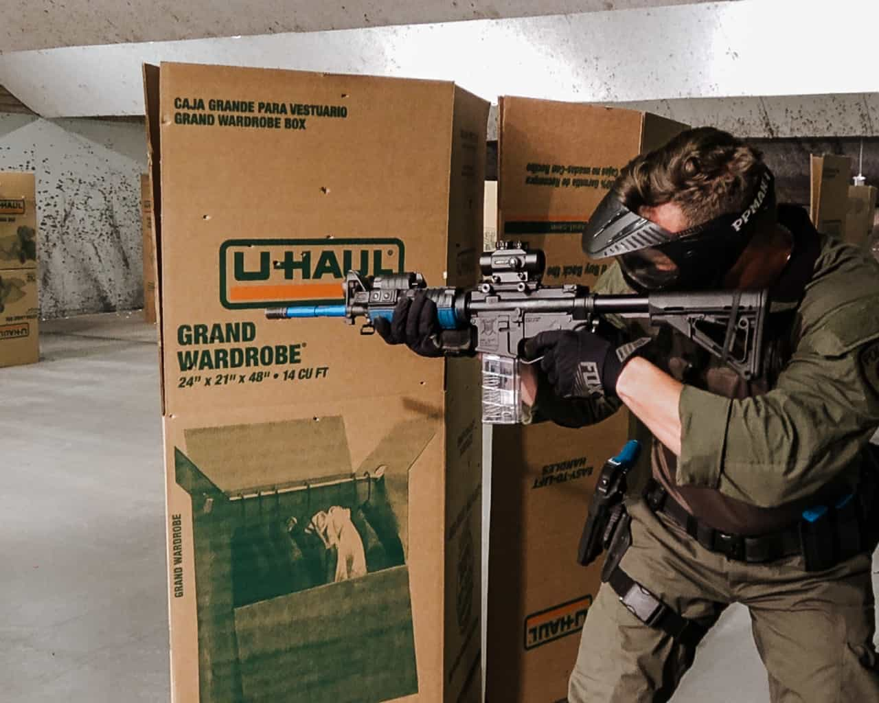 carbine gunfighter force on force drills with offhand shooting