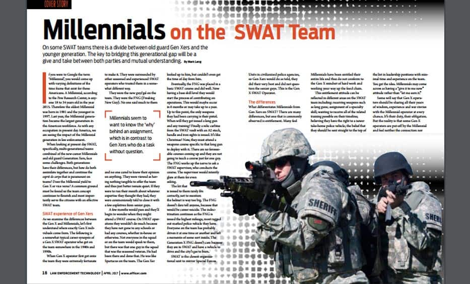 Law Enforcement Technology Magazine Millennials On The Swat Team