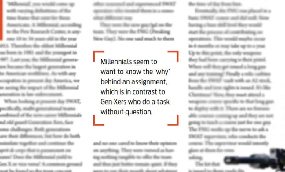 millennials on the swat team