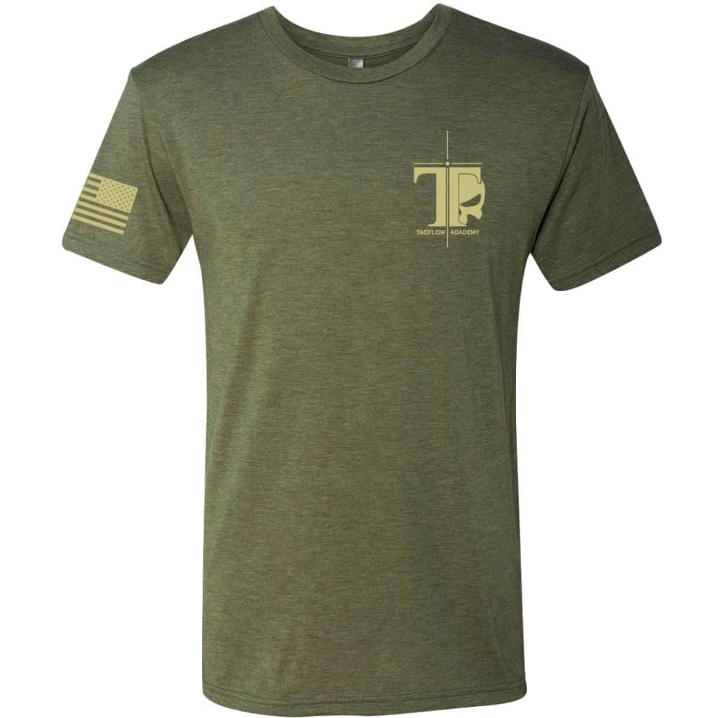 woodland green and tan tacflow tee front